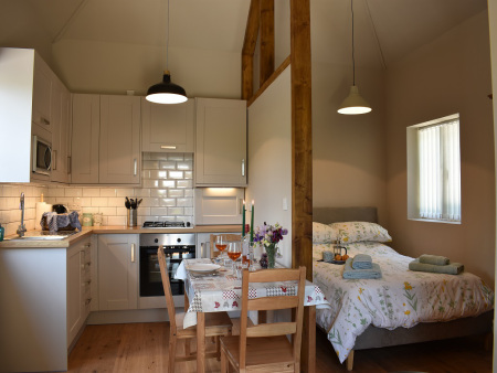 Kitchen and bedroom in self catering accomodation