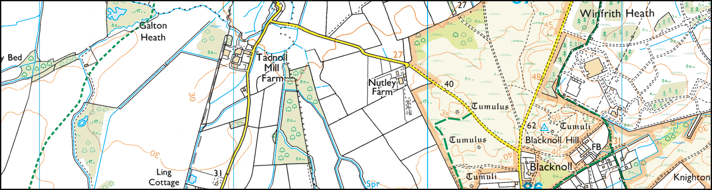 Map of Winfrith Heath, Dorset